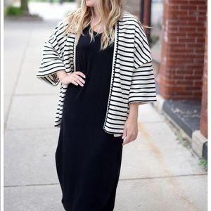 TheKorner striped open short sleeve sweater
